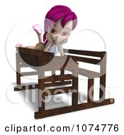 Clipart 3d Pink Haired School Girl Laying On A Desk Royalty Free CGI Illustration