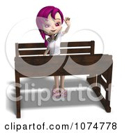 Clipart 3d Pink Haired School Girl Raising Her Hand At Her Desk Royalty Free CGI Illustration