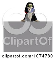 Clipart 3d Halloween Grim Reaper By A Gray Sign Royalty Free CGI Illustration