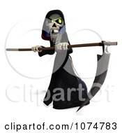 Clipart 3d Halloween Grim Reaper And Scythe 5 Royalty Free CGI Illustration