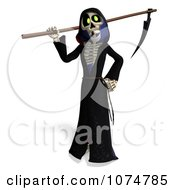 Clipart 3d Halloween Grim Reaper And Scythe 2 Royalty Free CGI Illustration