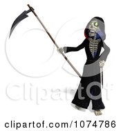 Clipart 3d Halloween Grim Reaper And Scythe 3 Royalty Free CGI Illustration