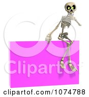 Clipart 3d Skeleton Sitting On A Pink Sign Royalty Free CGI Illustration by Ralf61