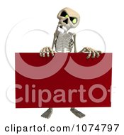 Clipart 3d Skeleton Holding A Red Sign 1 Royalty Free CGI Illustration by Ralf61