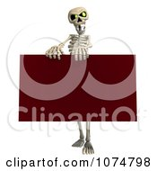 Clipart 3d Skeleton Holding A Red Sign 2 Royalty Free CGI Illustration by Ralf61