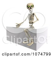 Clipart 3d Skeleton Sitting On A Cube Royalty Free CGI Illustration by Ralf61