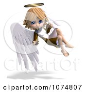Clipart 3d Cute Angel Girl Flying 6 Royalty Free CGI Illustration