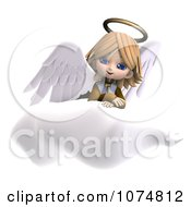 Clipart 3d Cute Angel Girl Sitting On A Cloud 3 Royalty Free CGI Illustration