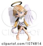 3d Cute Angel Girl Sitting On A Cloud 4