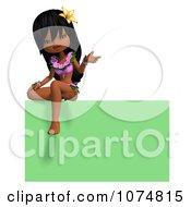 3d Hula Dancer Girl Sitting On A Green Sign