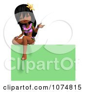 Clipart 3d Hula Dancer Girl Sitting On A Green Sign Royalty Free CGI Illustration