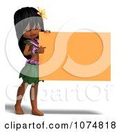 3d Hula Dancer Girl Holding An Orange Sign