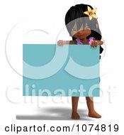 3d Hula Dancer Girl Holding A Blue Sign