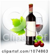 3d Red Wine Bottle With Grapevine Leaves And A Glass