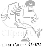 Clipart Gray Skeleton Being Sneaky Royalty Free Vector Illustration