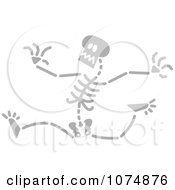 Clipart Gray Skeleton Running Royalty Free Vector Illustration by Zooco