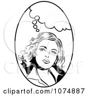 Clipart Black And White Retro Pop Art Woman With A Thought Balloon In An Oval Royalty Free Vector Illustration