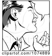 Clipart Black And White Retro Pop Art Man Talking Royalty Free Vector Illustration by brushingup #COLLC1074889-0171