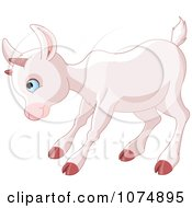 Clipart Cute Baby Goat Playing Royalty Free Vector Illustration by Pushkin