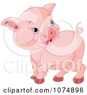 Clipart Cute Chubby Baby Pig Royalty Free Vector Illustration by Pushkin