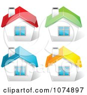 Clipart 3d Houses With Red Green Blue And Yellow Roof Tops Royalty Free Vector Illustration by Pushkin