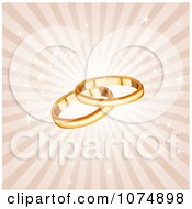 Clipart 3d Gold Wedding Band Rings Over Sparkly Rays Royalty Free Vector Illustration by Pushkin