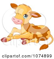 Clipart Cute Baby Calf Cow Sitting - Royalty Free Vector Illustration by Pushkin