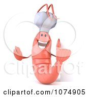 Clipart 3d Pink Shrimp Chef With A Blank Sign 3 Royalty Free CGI Illustration