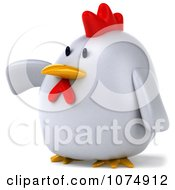 Clipart 3d Chubby White Chicken Pointing Left Royalty Free CGI Illustration