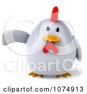Clipart 3d Chubby White Chicken Pointing To The Left Royalty Free CGI Illustration