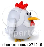 Clipart 3d Chubby White Chicken Facing Right Royalty Free CGI Illustration