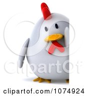 Clipart 3d Chubby White Chicken Holding A Sign Royalty Free CGI Illustration
