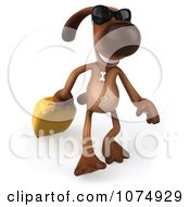 Clipart 3d Brown Pooch Pulling A Suitcase 1 Royalty Free CGI Illustration