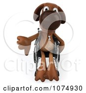 Clipart 3d Brown Pooch In A Wheelchair Holding A Thumb Down Royalty Free CGI Illustration