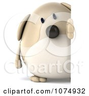 Clipart 3d Chubby Tan Dog Looking Around A Sign Royalty Free CGI Illustration