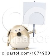 Clipart 3d Chubby Tan Dog Holding A Sign 2 Royalty Free CGI Illustration