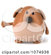 Clipart 3d Chubby Brown Dog Presenting 1 Royalty Free CGI Illustration