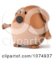 Clipart 3d Chubby Brown Dog Presenting 2 Royalty Free CGI Illustration