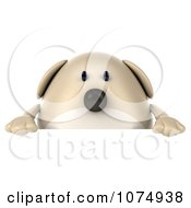 Clipart 3d Chubby Tan Dog Holding A Sign 1 Royalty Free CGI Illustration