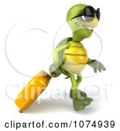 Clipart 3d Traveling Chuck Tortoise Pulling A Suitcase 1 Royalty Free CGI Illustration