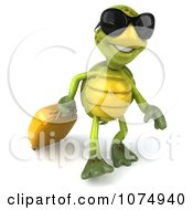 Clipart 3d Traveling Chuck Tortoise Pulling A Suitcase 2 Royalty Free CGI Illustration