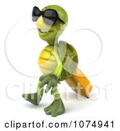 Clipart 3d Traveling Chuck Tortoise Pulling A Suitcase 3 Royalty Free CGI Illustration
