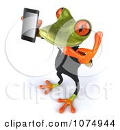 Clipart 3d Business Springer Frog Using A Cell Phone 5 Royalty Free CGI Illustration