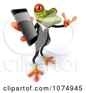 Clipart 3d Business Springer Frog Using A Cell Phone 4 Royalty Free CGI Illustration