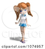 Clipart 3d Teenage Private School Girl Posing Royalty Free CGI Illustration