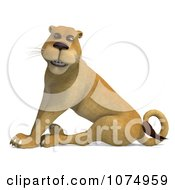 Clipart 3d Lioness Sitting Royalty Free CGI Illustration