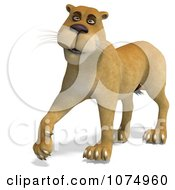 Clipart 3d Lioness Walking 3 Royalty Free CGI Illustration