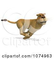 Clipart 3d Lioness Running 1 Royalty Free CGI Illustration