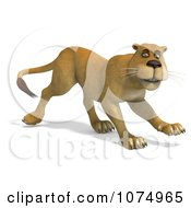 Clipart 3d Lioness Walking 2 Royalty Free CGI Illustration