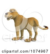 Clipart 3d Lioness Facing Left Royalty Free CGI Illustration